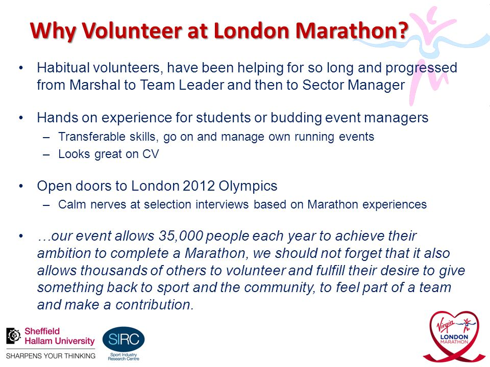 Why Volunteer at London Marathon.