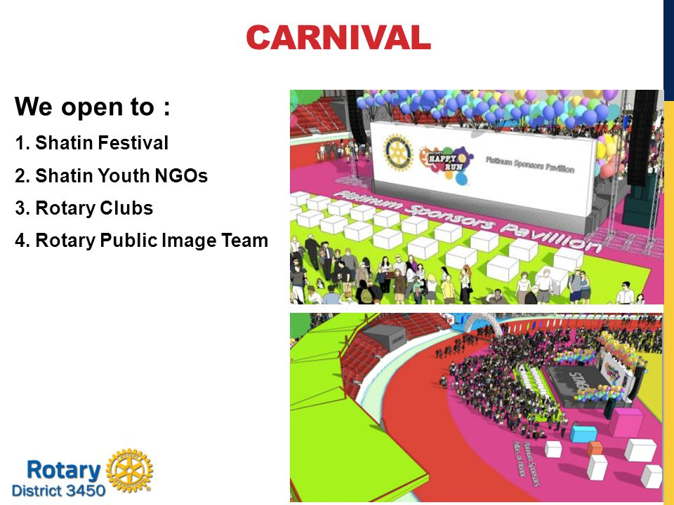 CARNIVAL We open to : 1. Shatin Festival 2. Shatin Youth NGOs 3.