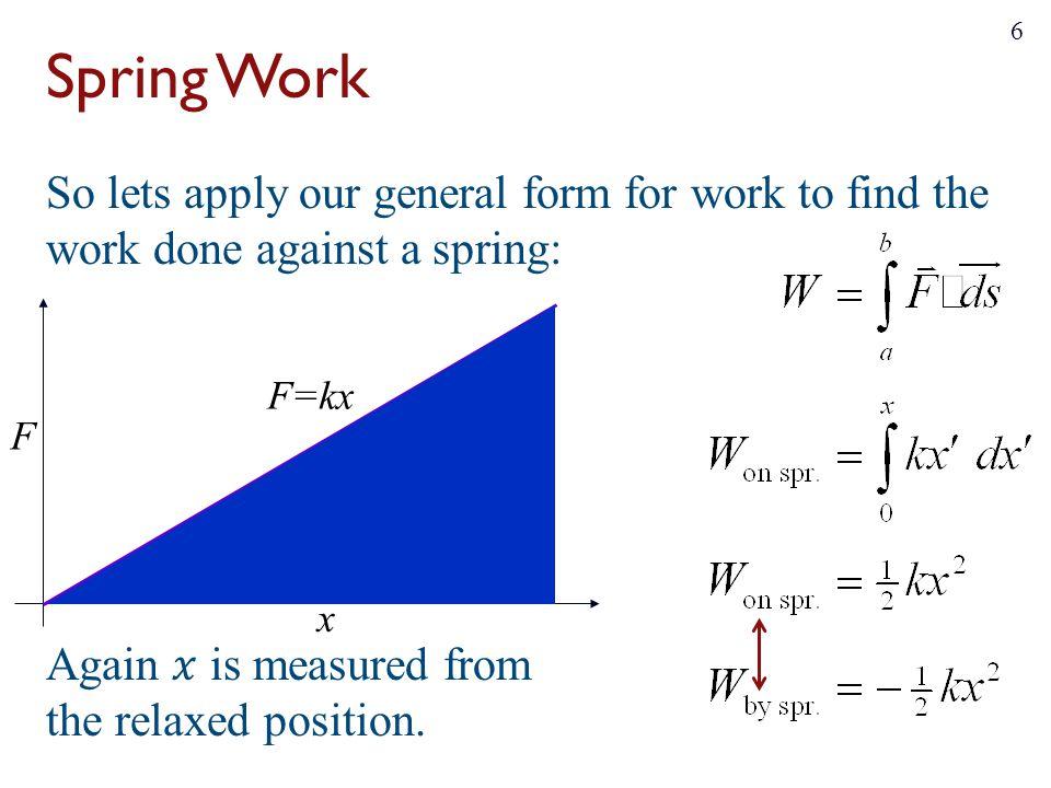 x F F=kx Spring Work 6
