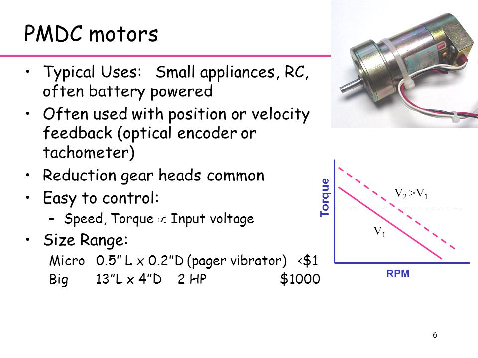 6 PMDC motors Typical Uses: Small appliances, RC, often battery powered Often used with position or velocity feedback (optical encoder or tachometer) Reduction gear heads common Easy to control: –Speed, Torque  Input voltage Size Range: Micro 0.5 L x 0.2 D (pager vibrator) <$1 Big 13 L x 4 D 2 HP $1000 RPM Torque V1V1 V 2 >V 1