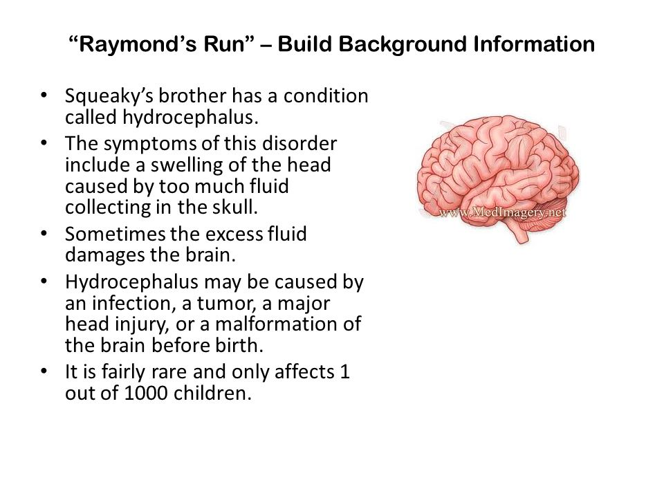 """Raymond's Run"" – Build Background Information Squeaky's brother has a condition called hydrocephalus. The symptoms of this disorder include a swellin"
