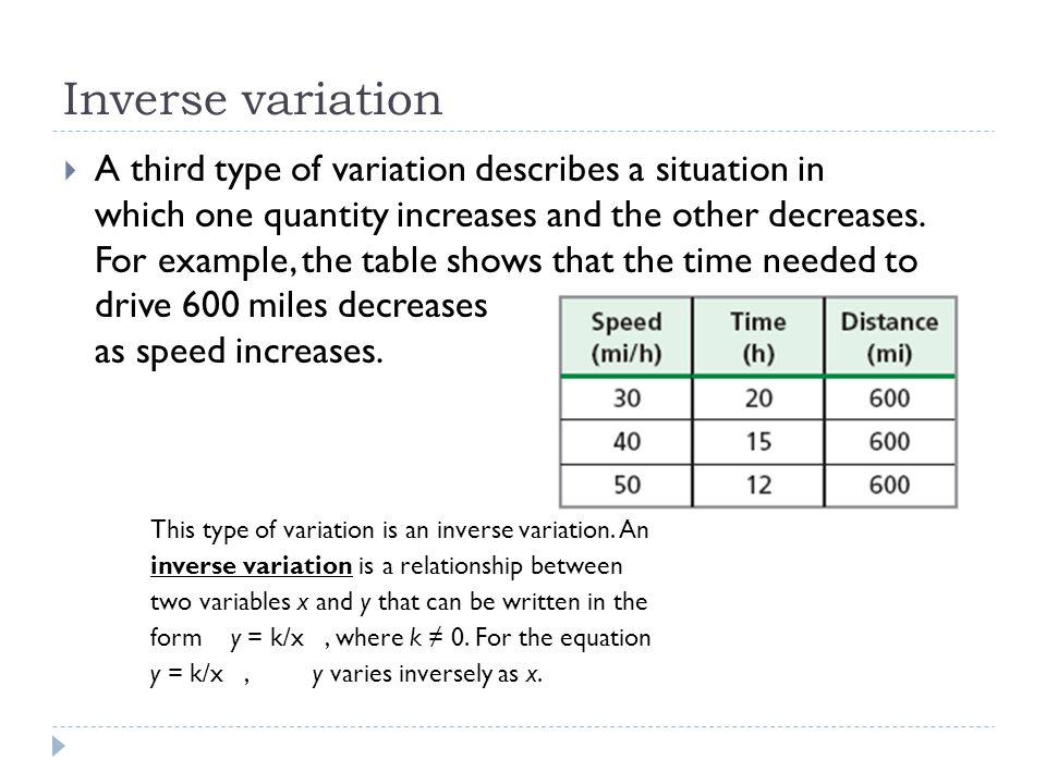 Inverse variation  A third type of variation describes a situation in which one quantity increases and the other decreases. For example, the table sh