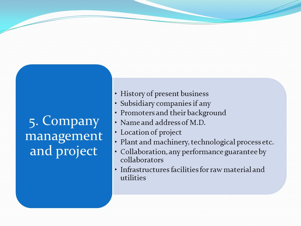 History of present business Subsidiary companies if any Promoters and their background Name and address of M.D.