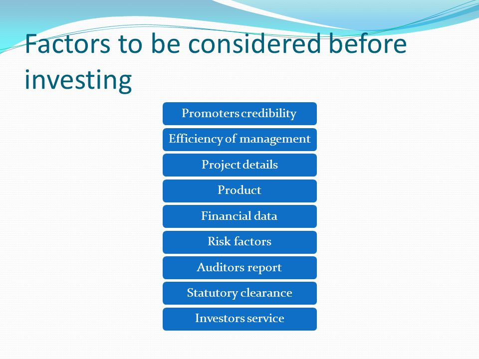 Factors to be considered before investing Promoters credibilityEfficiency of managementProject detailsProductFinancial dataRisk factorsAuditors reportStatutory clearanceInvestors service