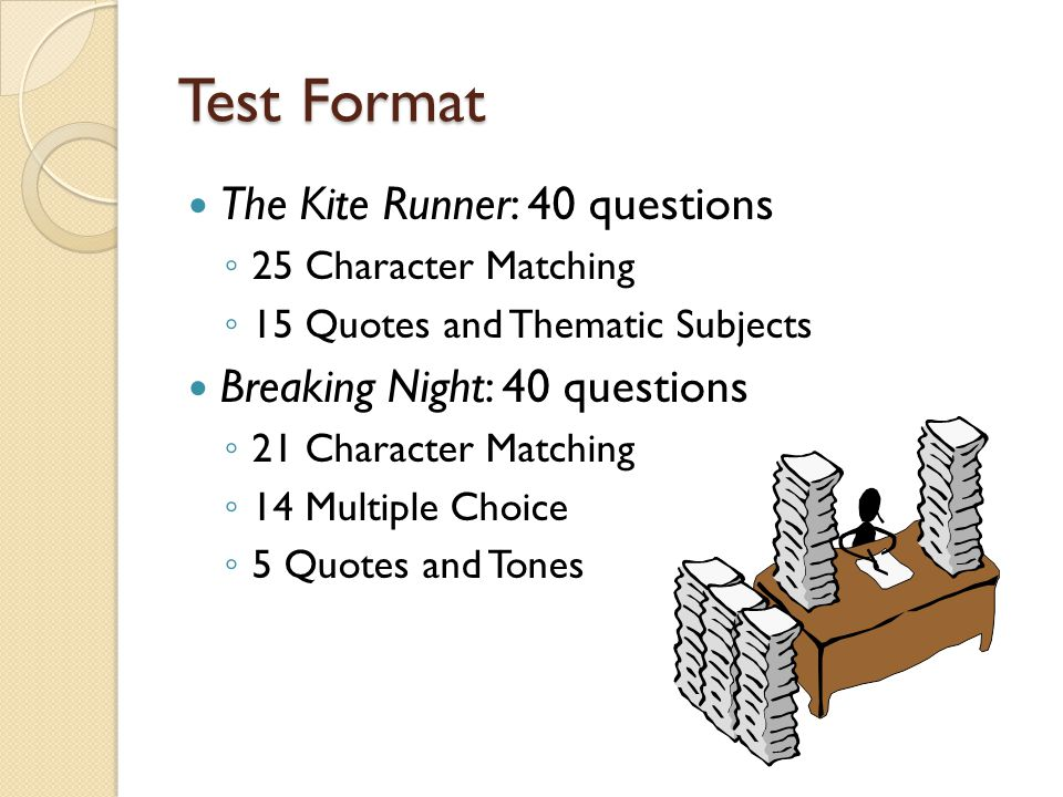 Test Format The Kite Runner: 40 questions ◦ 25 Character Matching ◦ 15 Quotes and Thematic Subjects Breaking Night: 40 questions ◦ 21 Character Matching ◦ 14 Multiple Choice ◦ 5 Quotes and Tones
