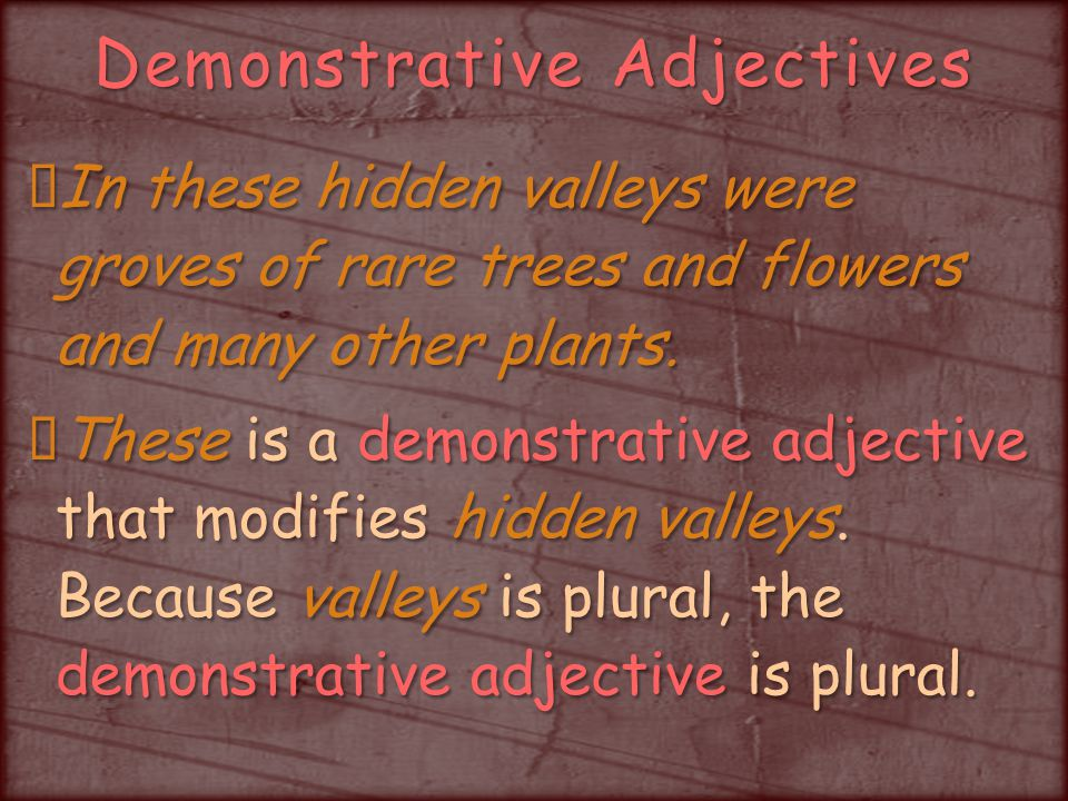 Demonstrative Adjectives In these hidden valleys were groves of rare trees and flowers and many other plants.