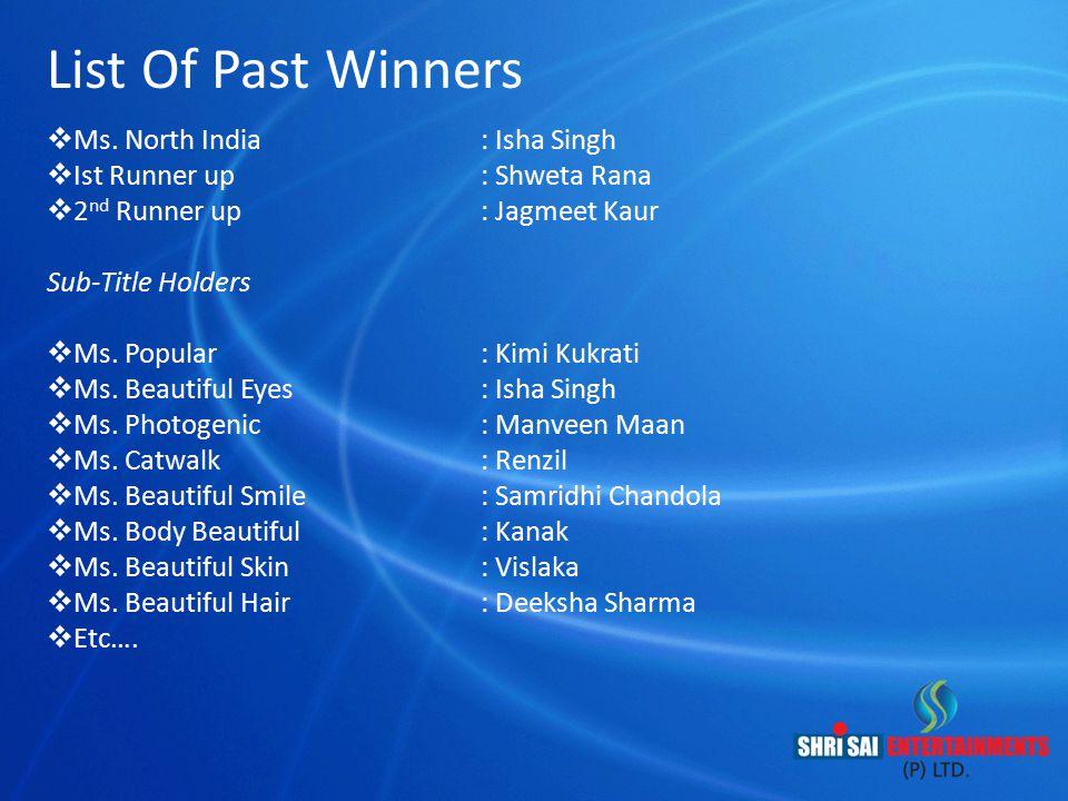 List Of Past Winners  Ms. North India : Isha Singh  Ist Runner up : Shweta Rana  2 nd Runner up : Jagmeet Kaur Sub-Title Holders  Ms. Popular : Ki