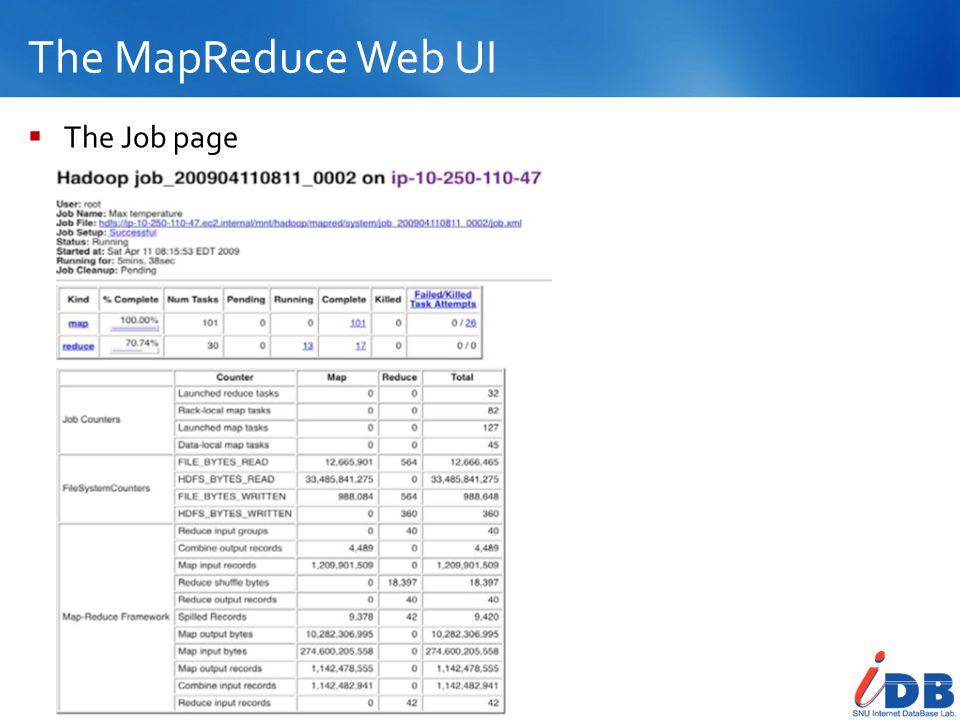The MapReduce Web UI 29  The Job page