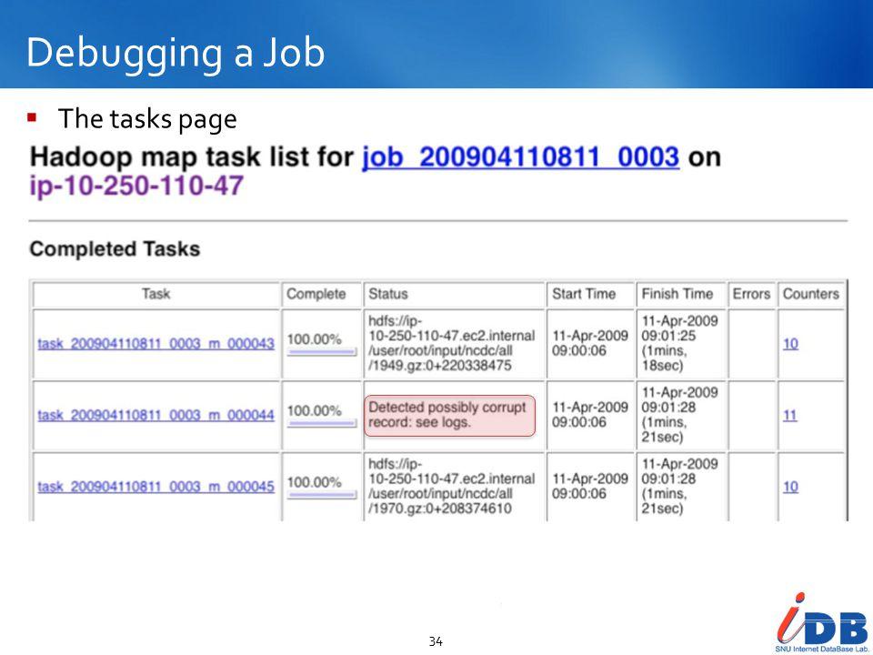 Debugging a Job 34  The tasks page