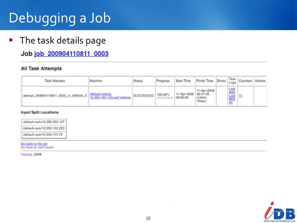 Debugging a Job 35  The task details page
