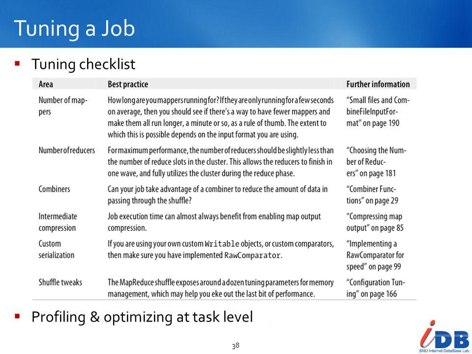 Tuning a Job 38  Tuning checklist  Profiling & optimizing at task level