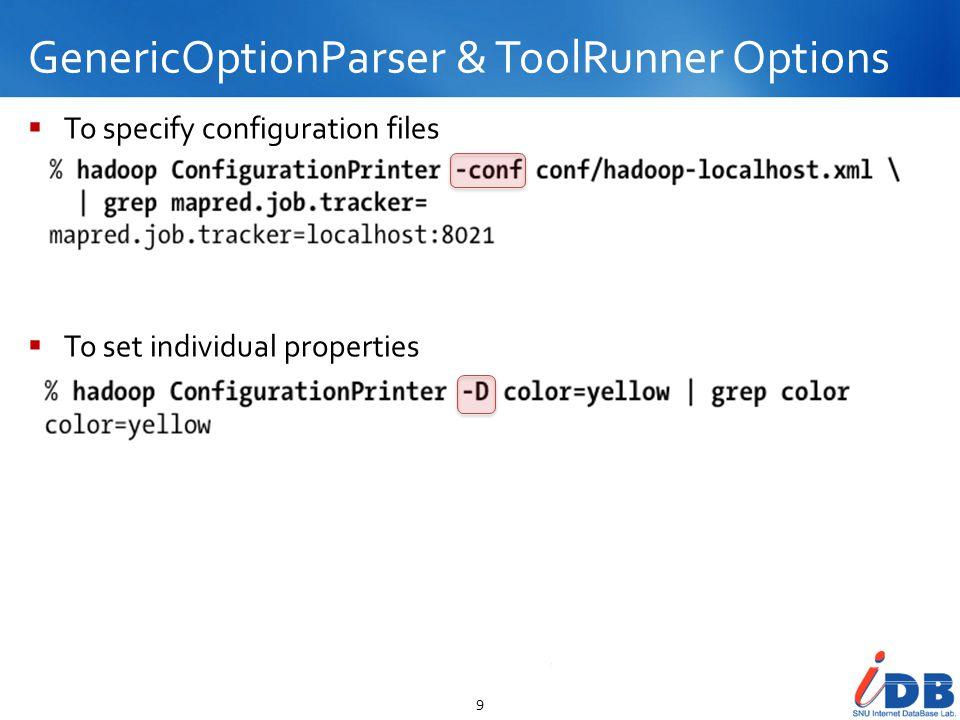 GenericOptionParser & ToolRunner Options 10