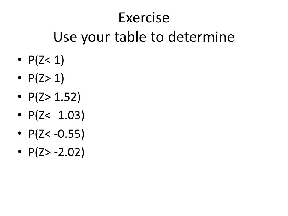 Exercise Use your table to determine P(Z< 1) P(Z> 1) P(Z> 1.52) P(Z< -1.03) P(Z< -0.55) P(Z> -2.02)
