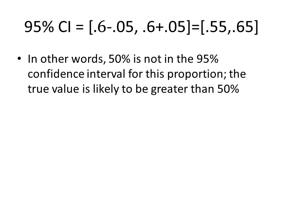 In other words, 50% is not in the 95% confidence interval for this proportion; the true value is likely to be greater than 50%