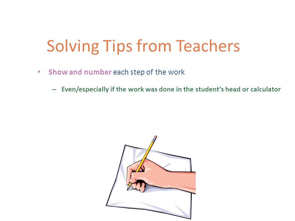 Solving Open-ended Items Tips from Teachers
