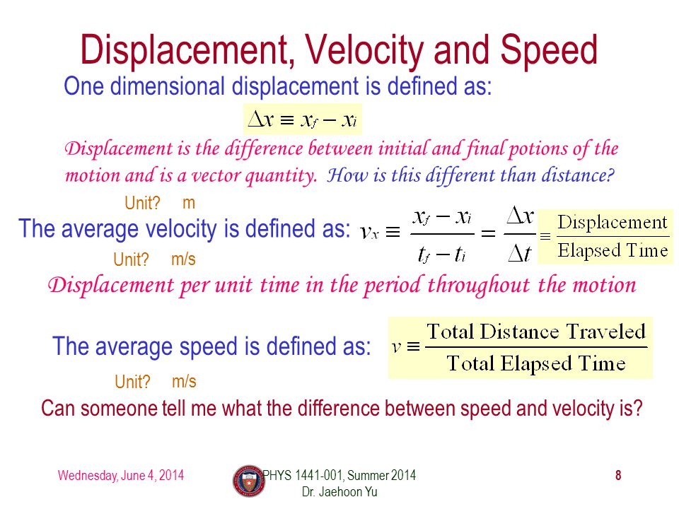 Wednesday, June 4, 2014PHYS 1441-001, Summer 2014 Dr. Jaehoon Yu 8 Displacement, Velocity and Speed One dimensional displacement is defined as: The av