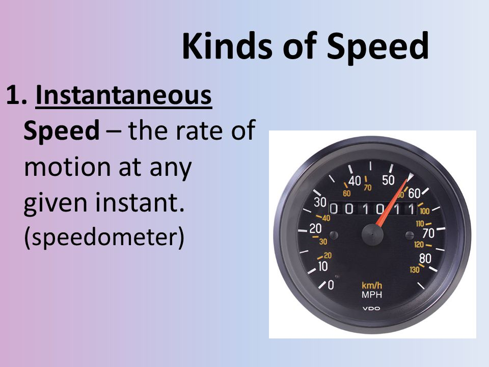 Kinds of Speed 1. Instantaneous Speed – the rate of motion at any given instant. (speedometer)
