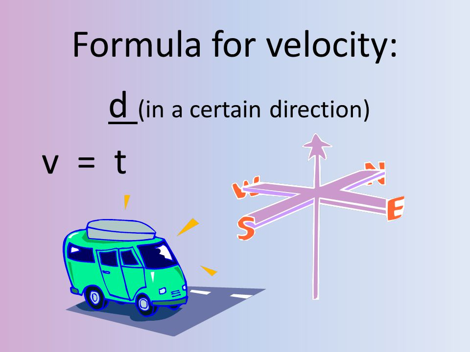 Formula for velocity: d (in a certain direction) v = t