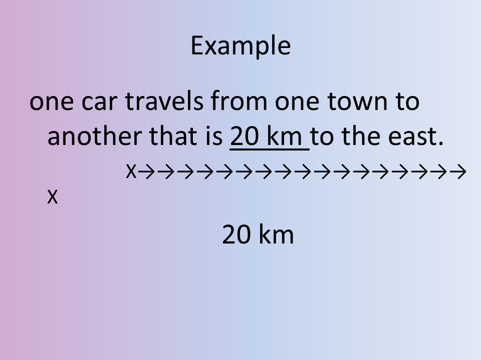 Example one car travels from one town to another that is 20 km to the east. X→→→→→→→→→→→→→→→→→ X 20 km