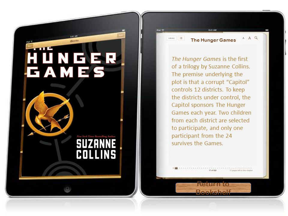 Hunger Games Return to Bookshelf Return to Bookshelf The Hunger Games The Hunger Games is the first of a trilogy by Suzanne Collins.