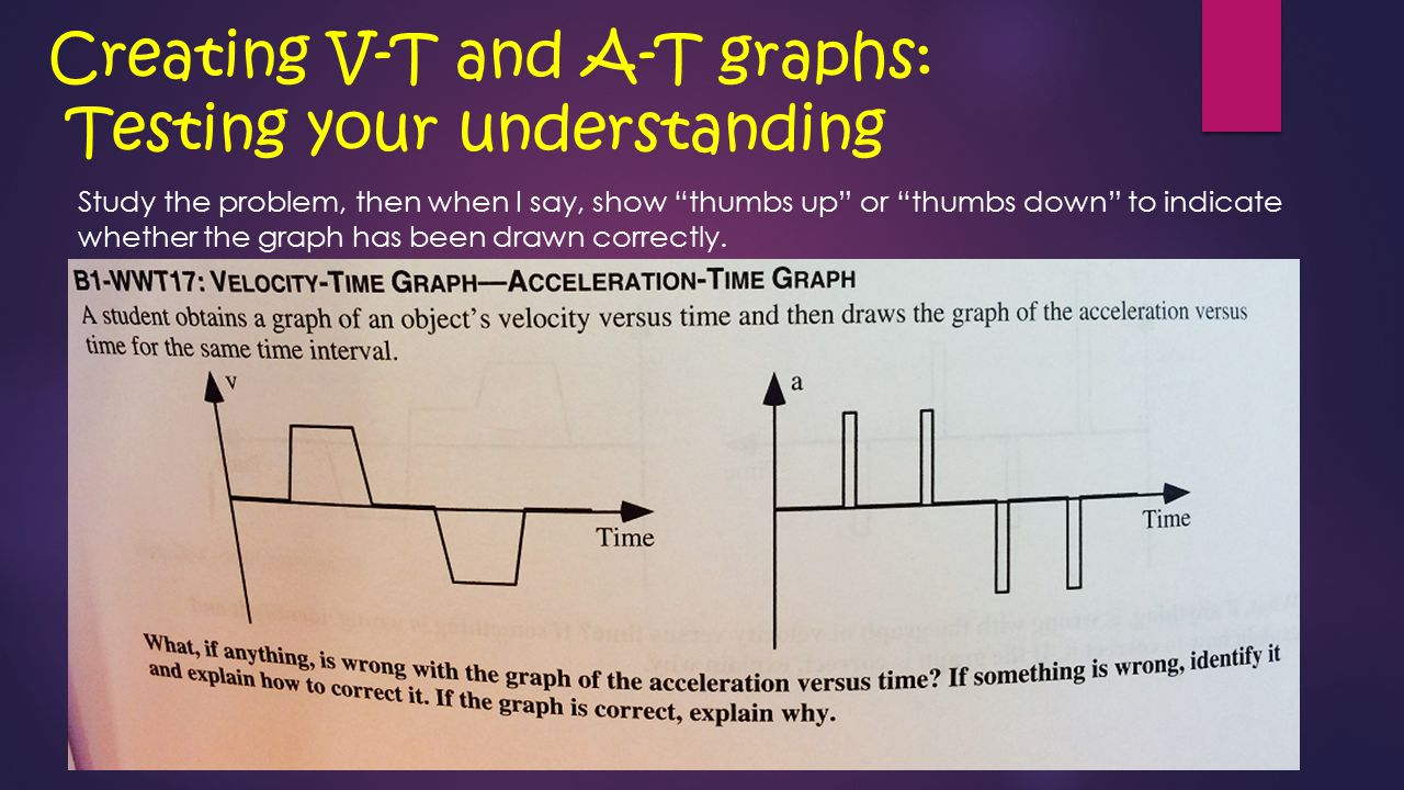 Creating V-T and A-T graphs: Testing your understanding Study the problem, then when I say, show thumbs up or thumbs down to indicate whether the graph has been drawn correctly.