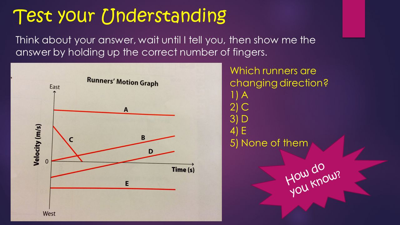 You Do: Interpreting V-T Graphs Use the graph of the motion of a toy train, below, to answer the questions.