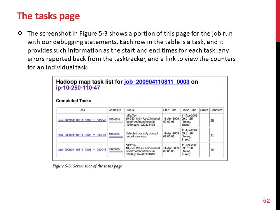 The tasks page  The screenshot in Figure 5-3 shows a portion of this page for the job run with our debugging statements.