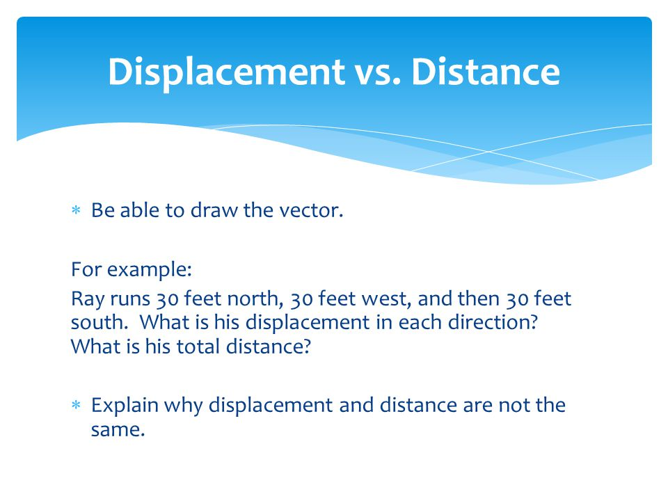  Be able to draw the vector. For example: Ray runs 30 feet north, 30 feet west, and then 30 feet south. What is his displacement in each direction? W