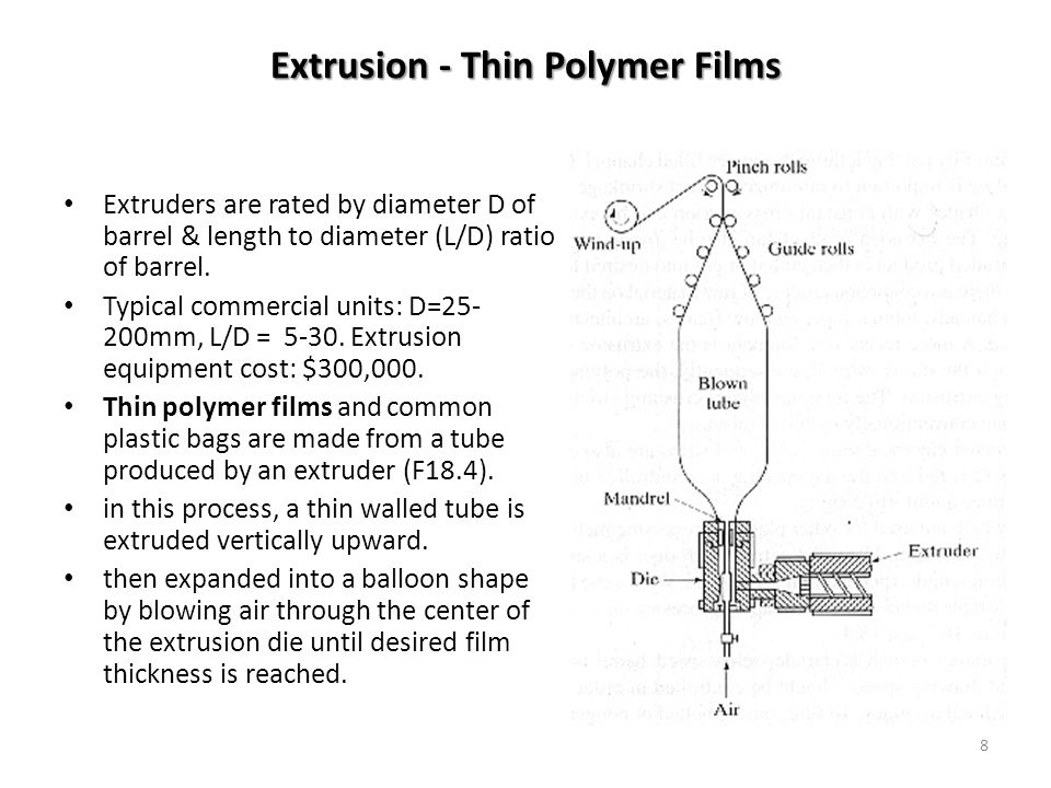 8 Extrusion - Thin Polymer Films Extruders are rated by diameter D of barrel & length to diameter (L/D) ratio of barrel. Typical commercial units: D=2