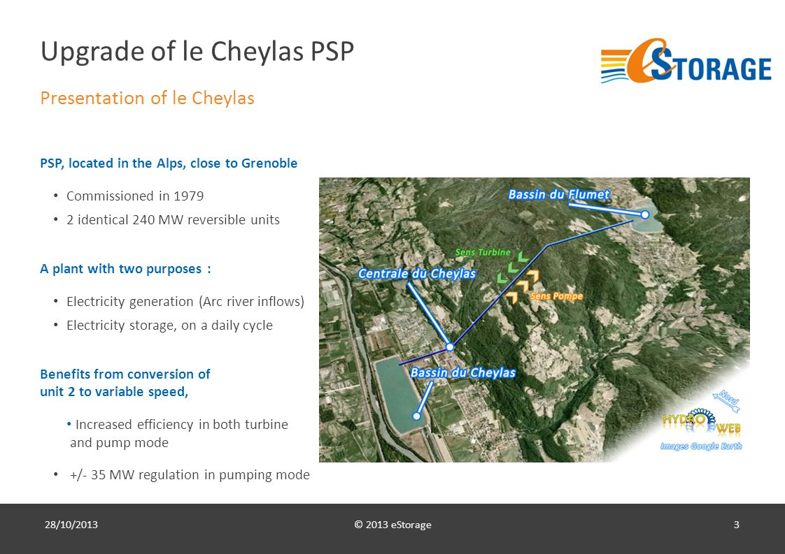 © 2013 eStorage3 Upgrade of le Cheylas PSP Presentation of le Cheylas PSP, located in the Alps, close to Grenoble Commissioned in 1979 2 identical 240