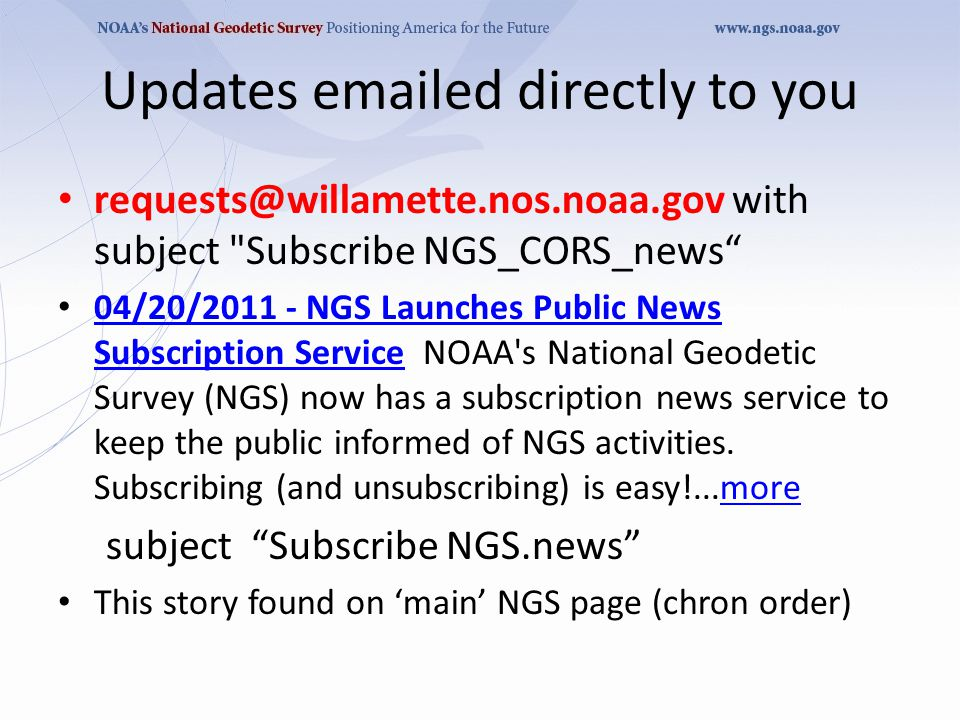 News that IMPACTS the CORS program, June 15, 2011 (today) New CORS Coordinates