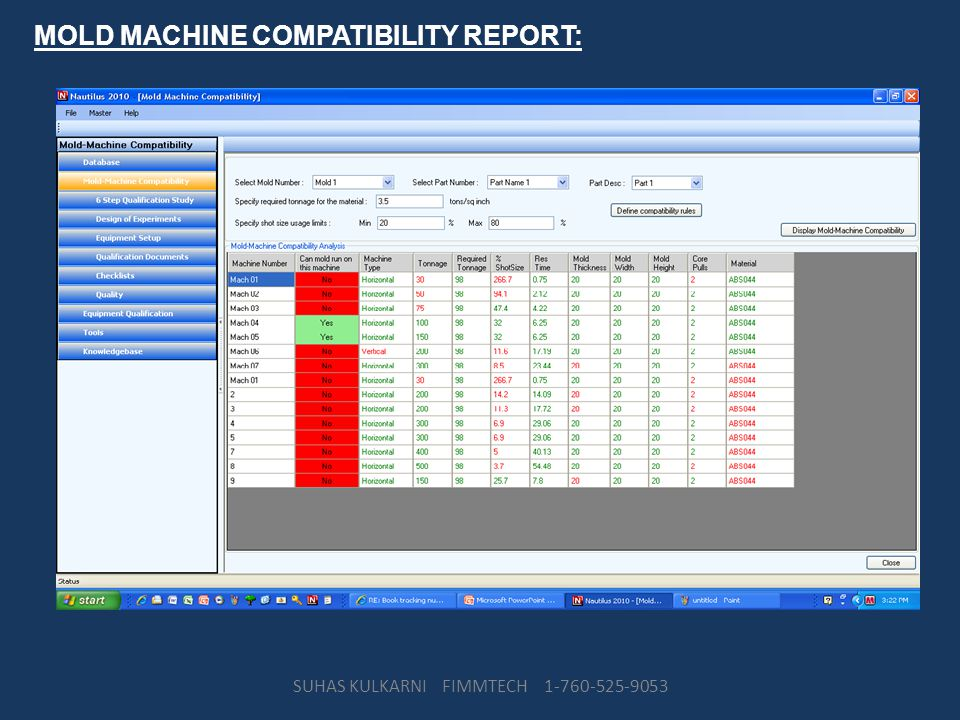 MOLD MACHINE COMPATIBILITY REPORT: SUHAS KULKARNI FIMMTECH 1-760-525-9053