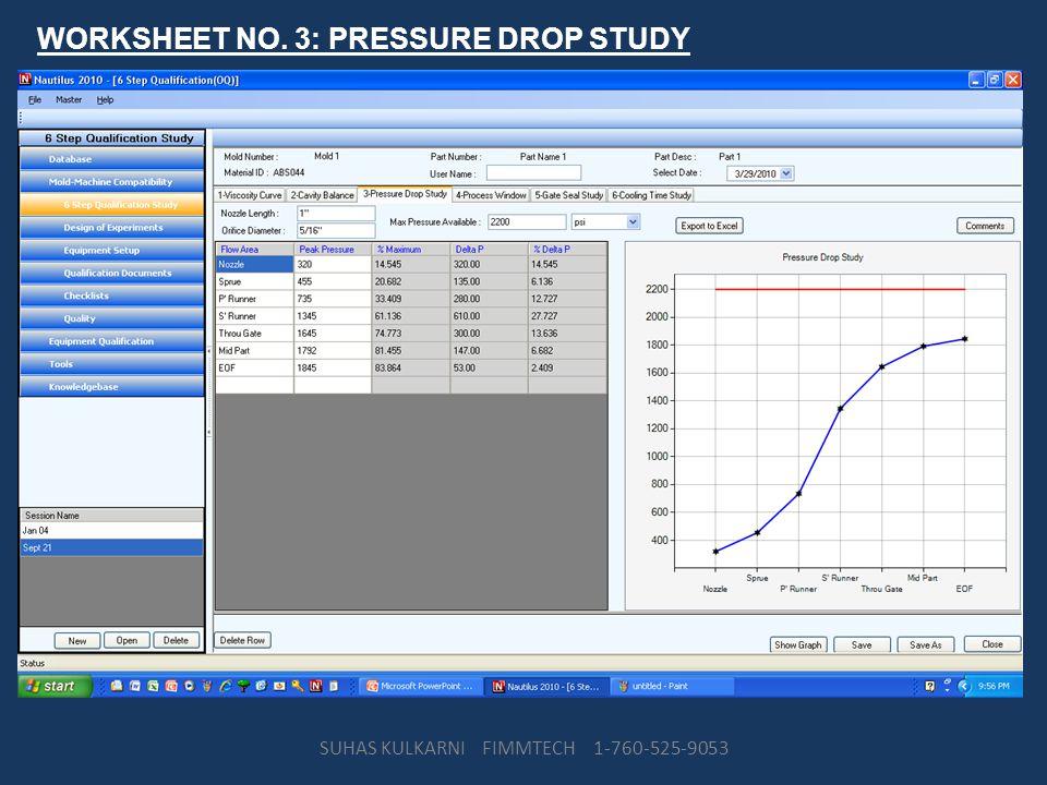 WORKSHEET NO. 3: PRESSURE DROP STUDY SUHAS KULKARNI FIMMTECH 1-760-525-9053