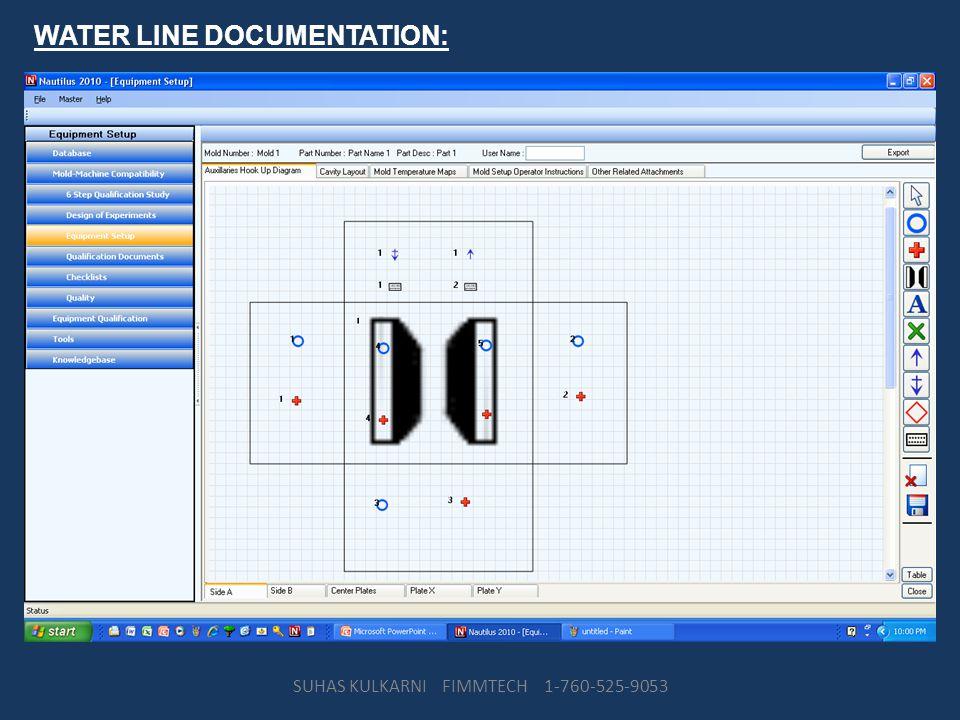 WATER LINE DOCUMENTATION: SUHAS KULKARNI FIMMTECH 1-760-525-9053