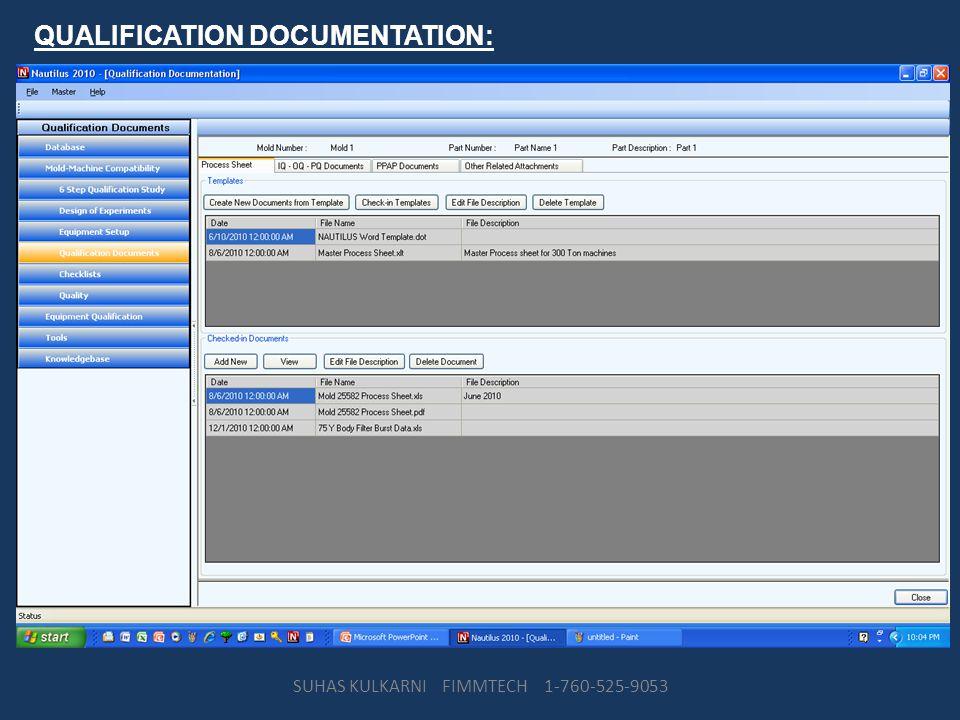 QUALIFICATION DOCUMENTATION: SUHAS KULKARNI FIMMTECH 1-760-525-9053