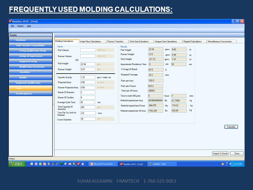 FREQUENTLY USED MOLDING CALCULATIONS: SUHAS KULKARNI FIMMTECH 1-760-525-9053