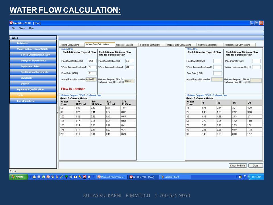 WATER FLOW CALCULATION: SUHAS KULKARNI FIMMTECH 1-760-525-9053