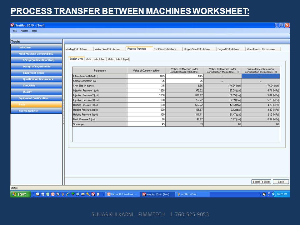 PROCESS TRANSFER BETWEEN MACHINES WORKSHEET: SUHAS KULKARNI FIMMTECH 1-760-525-9053