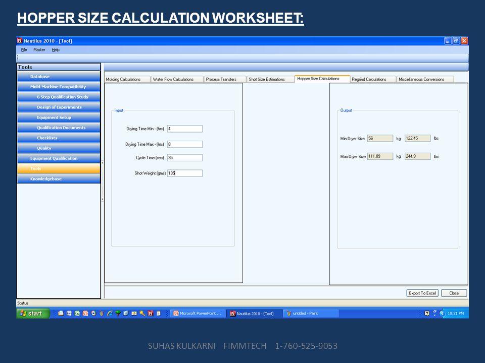 HOPPER SIZE CALCULATION WORKSHEET: SUHAS KULKARNI FIMMTECH 1-760-525-9053