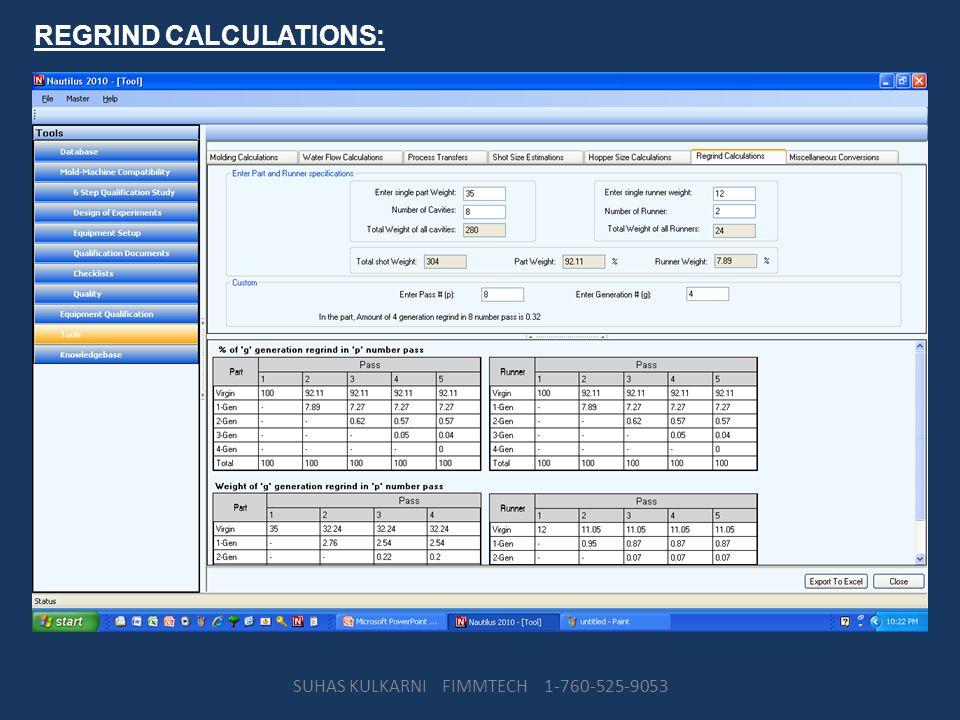 REGRIND CALCULATIONS: SUHAS KULKARNI FIMMTECH 1-760-525-9053