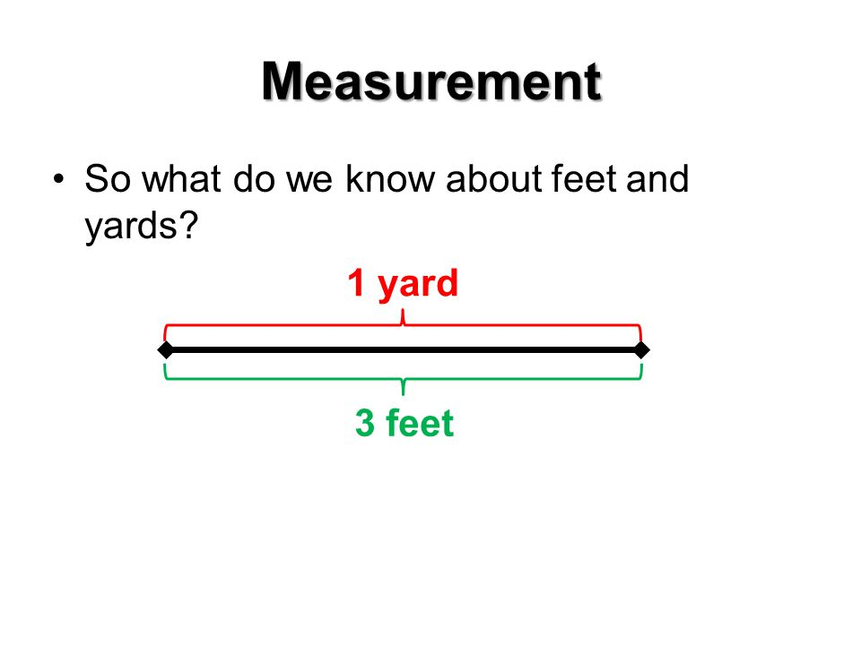 Measurement So what do we know about feet and yards 1 yard 3 feet
