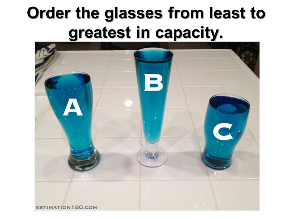 Order the glasses from least to greatest in capacity.