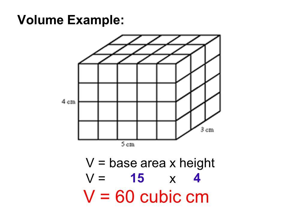 V = base area x height V = x V = 60 cubic cm 15 4
