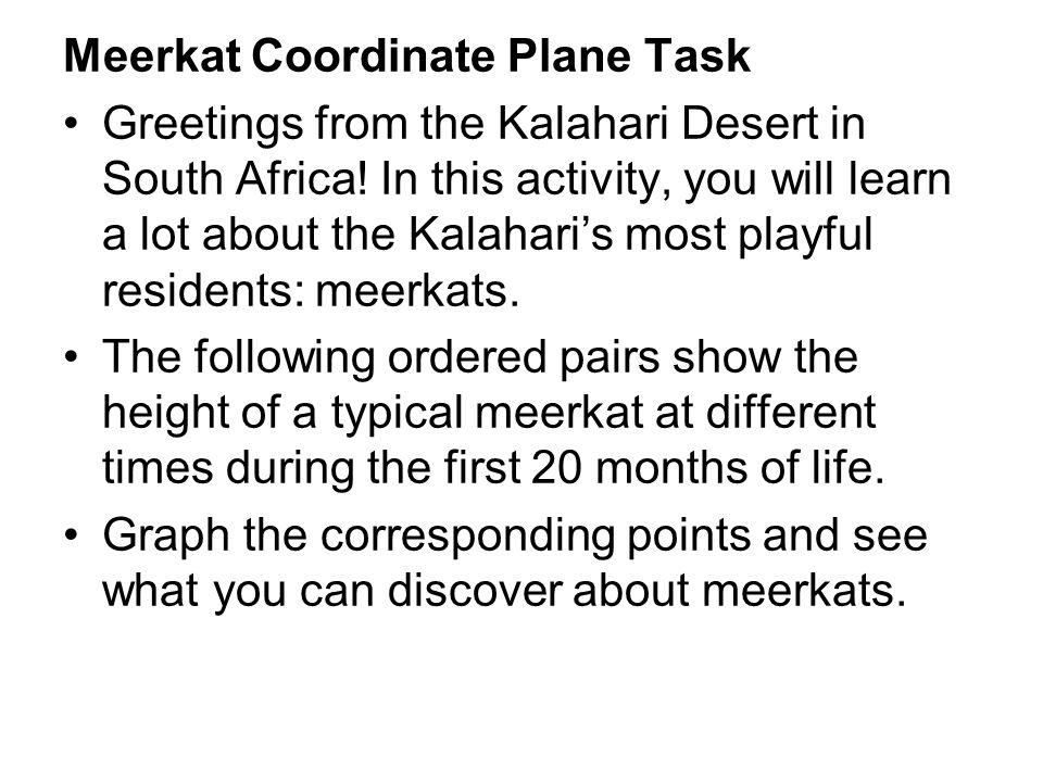 Meerkat Coordinate Plane Task Greetings from the Kalahari Desert in South Africa.
