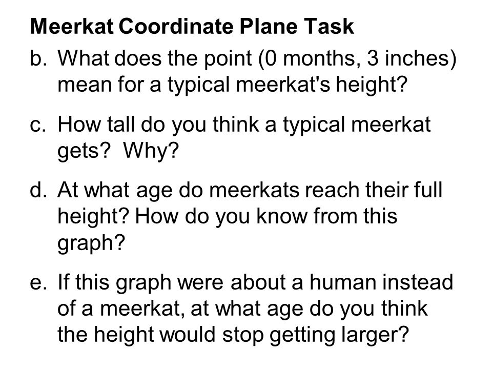 Meerkat Coordinate Plane Task b.What does the point (0 months, 3 inches) mean for a typical meerkat s height.