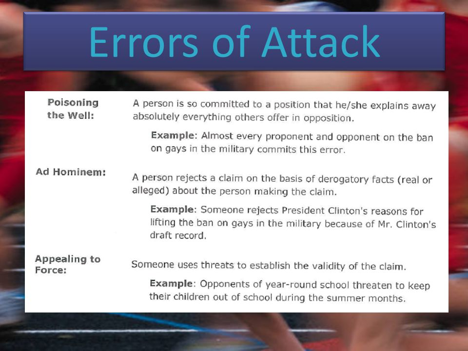 Errors of Attack
