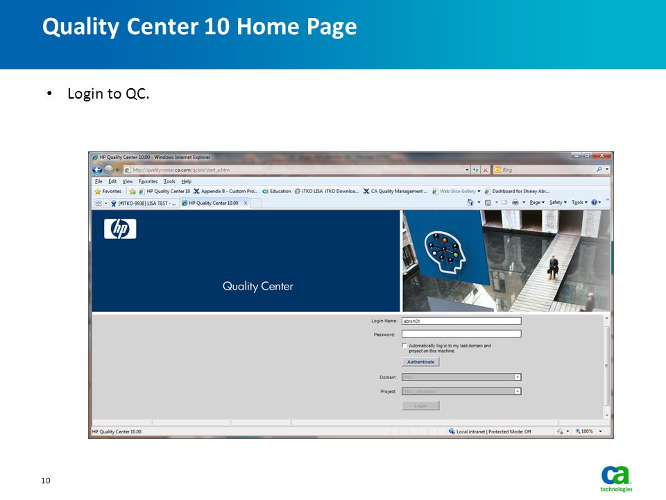 Quality Center 10 Home Page 10 Login to QC.