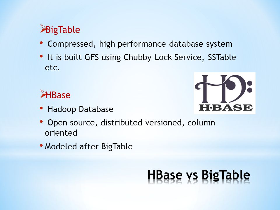  BigTable Compressed, high performance database system It is built GFS using Chubby Lock Service, SSTable etc.