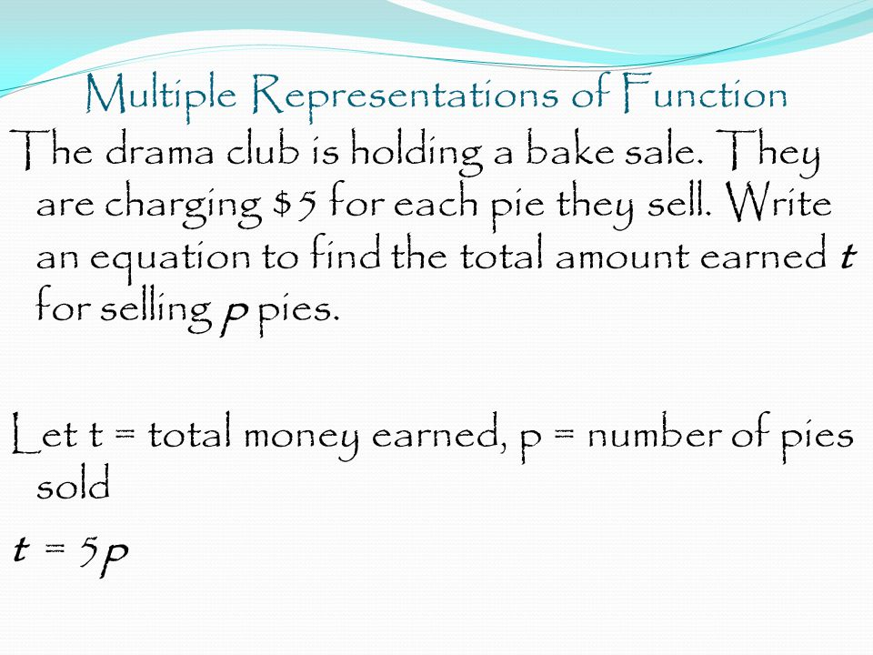 Multiple Representations of Function The drama club is holding a bake sale.