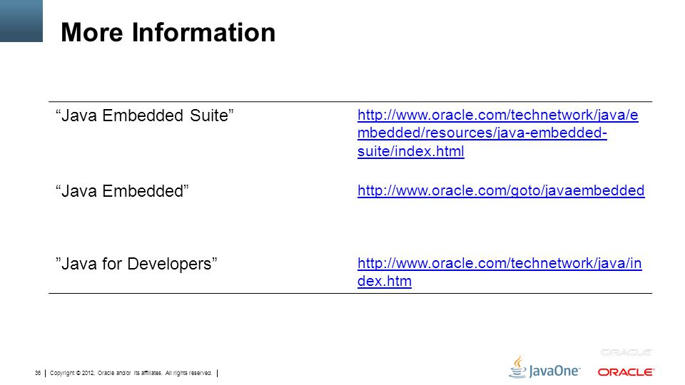 """Copyright © 2012, Oracle and/or its affiliates. All rights reserved. 36 More Information """"Java Embedded Suite"""" http://www.oracle.com/technetwork/java/"""